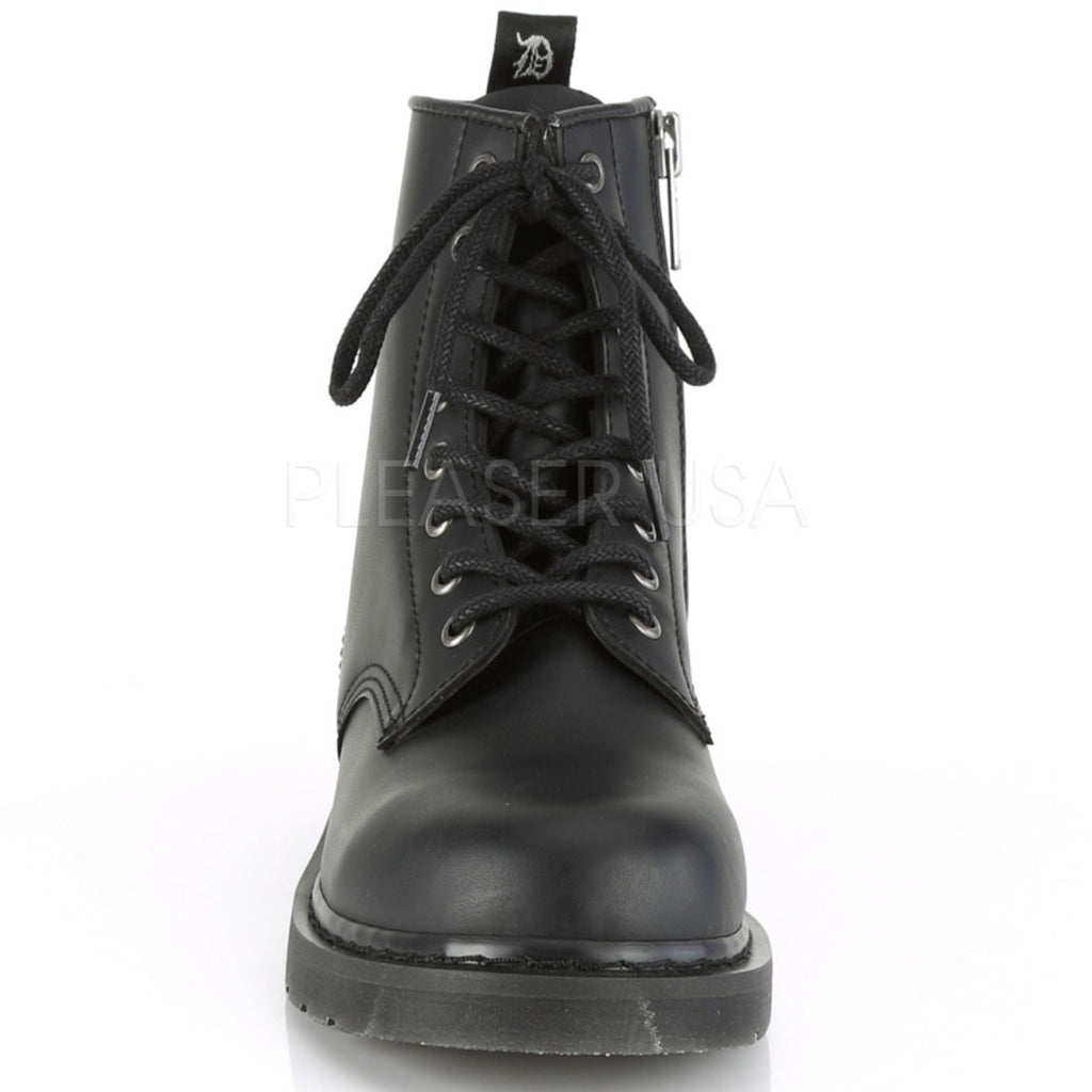 Black Vegan Leather 8 Eyelet Miltary Boots Combat Mid Calf Unisex Stacked Flat