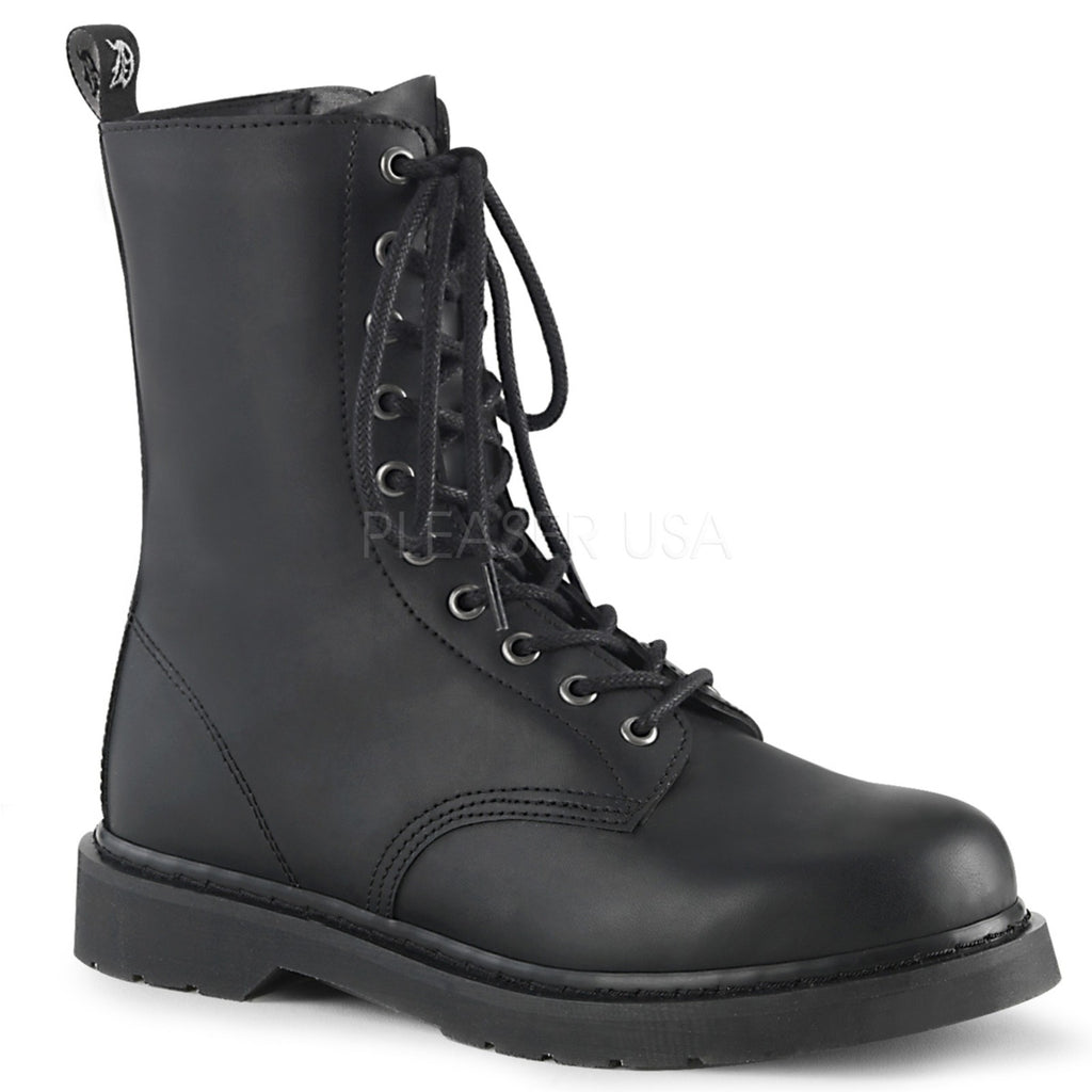 Black Vegan Leather 10 Eyelet Miltary Boots Combat Mid Calf Unisex Stacked Flat