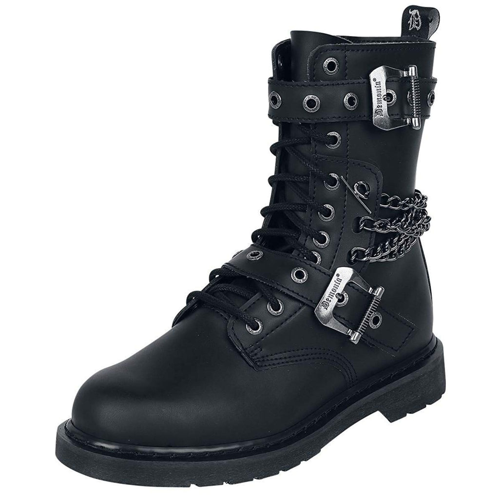Black Vegan Leather 10 Eyelet Unisex Mid-Calf Combat Boots Buckle Strap Side Zip