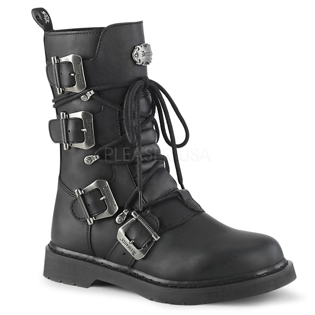 Black Vegan Leather Unisex Mid-Calf Combat Boots Punk Biker Multi Buckle Straps