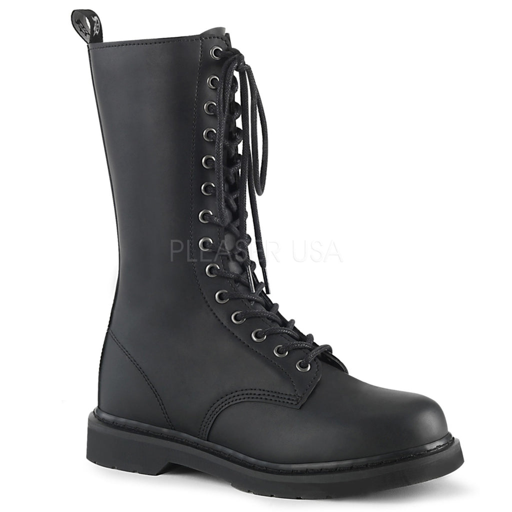 Black Vegan Leather 14-Eyelet Unisex Mid Calf Combat Boots Military Punk Goth