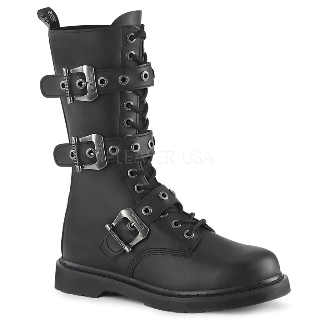 Black Leather 14 Eyelet Mid-Calf Combat Boots Military Biker Goth Triple Buckle