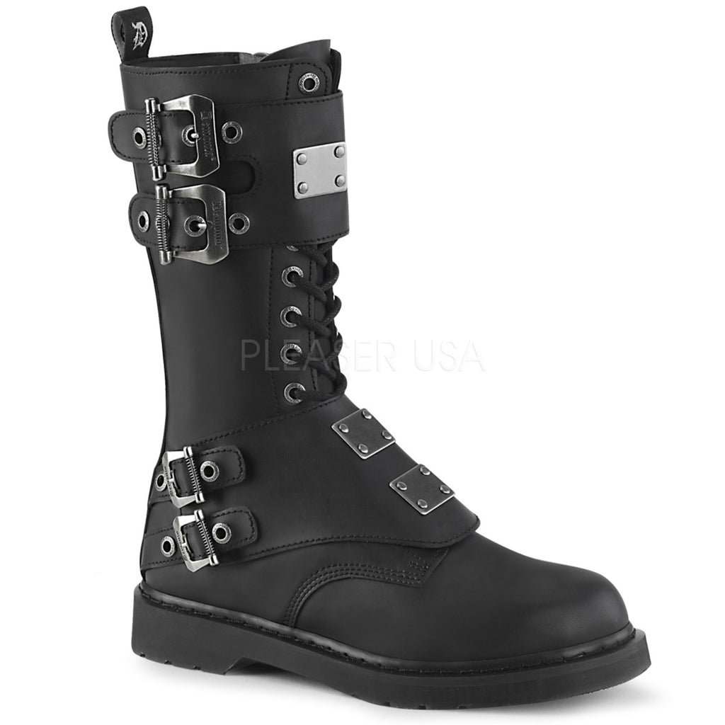 Black Leather 14 Eyelet Unisex Mid-Calf Combat Boots Buckled Panels Metal Plate