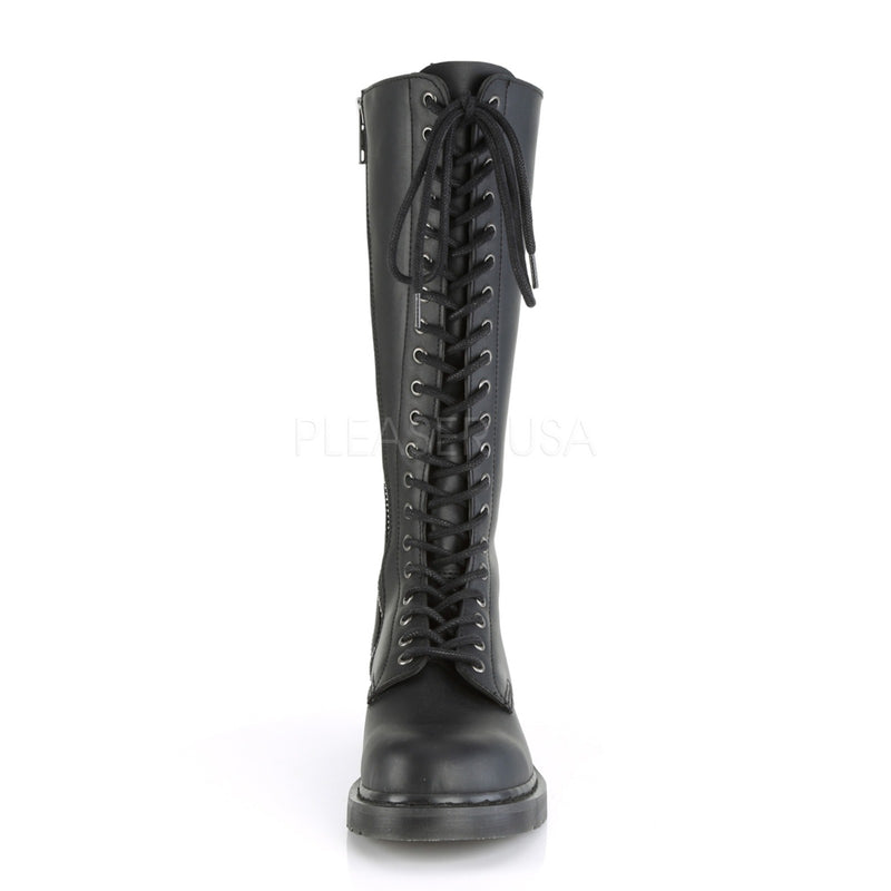 Black Vegan Leather Unisex Lace Up Knee High Boots Military Goth Punk Combat