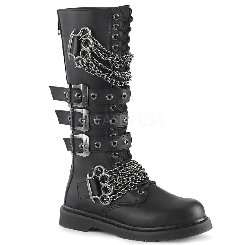 Black Vegan Leather 20 Eyelet Knee High Mens Combat Boots Chain Buckle Straps