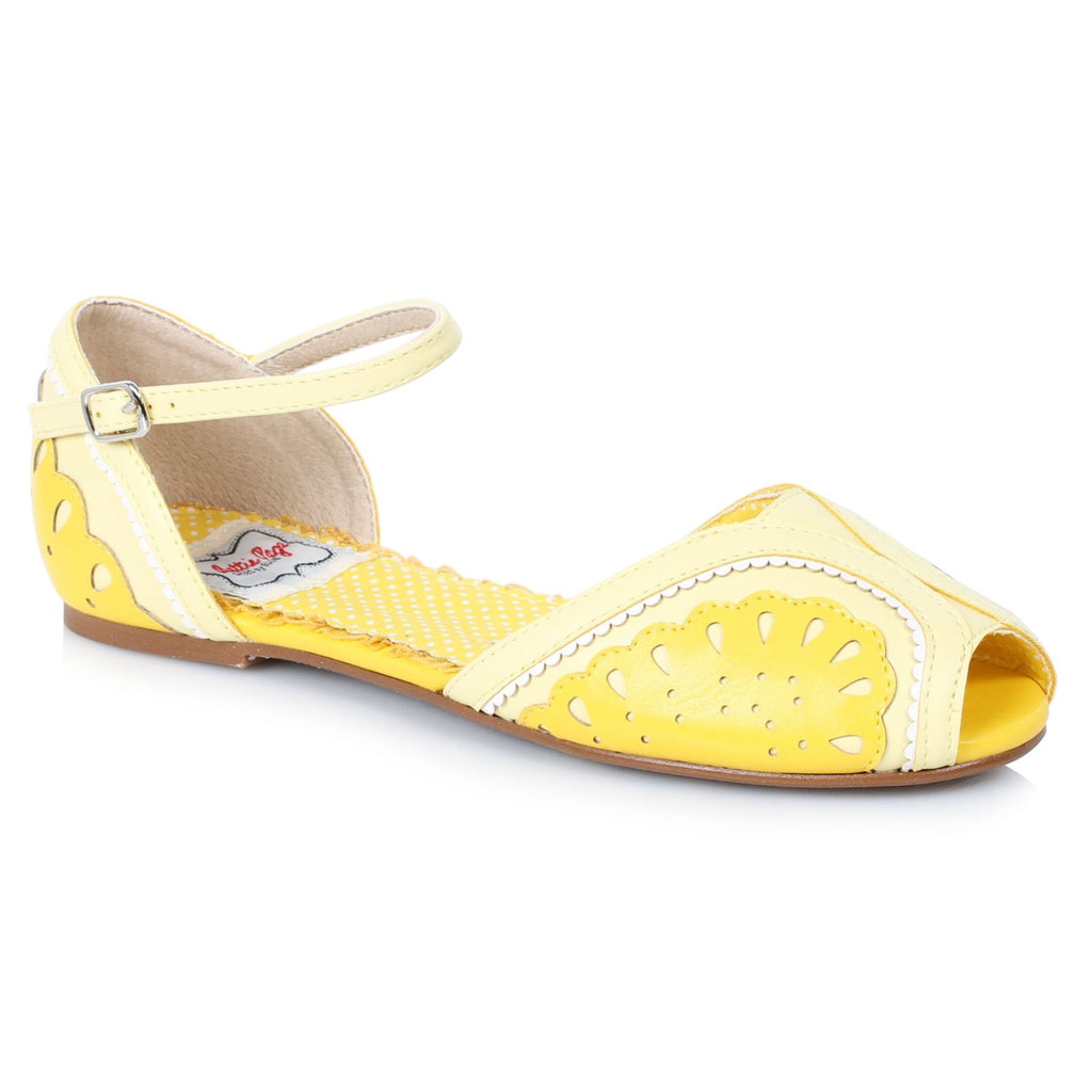 Yellow Flat Sandals Vintage Pin Up Fruit Inspired Women Bettie Page Shoes