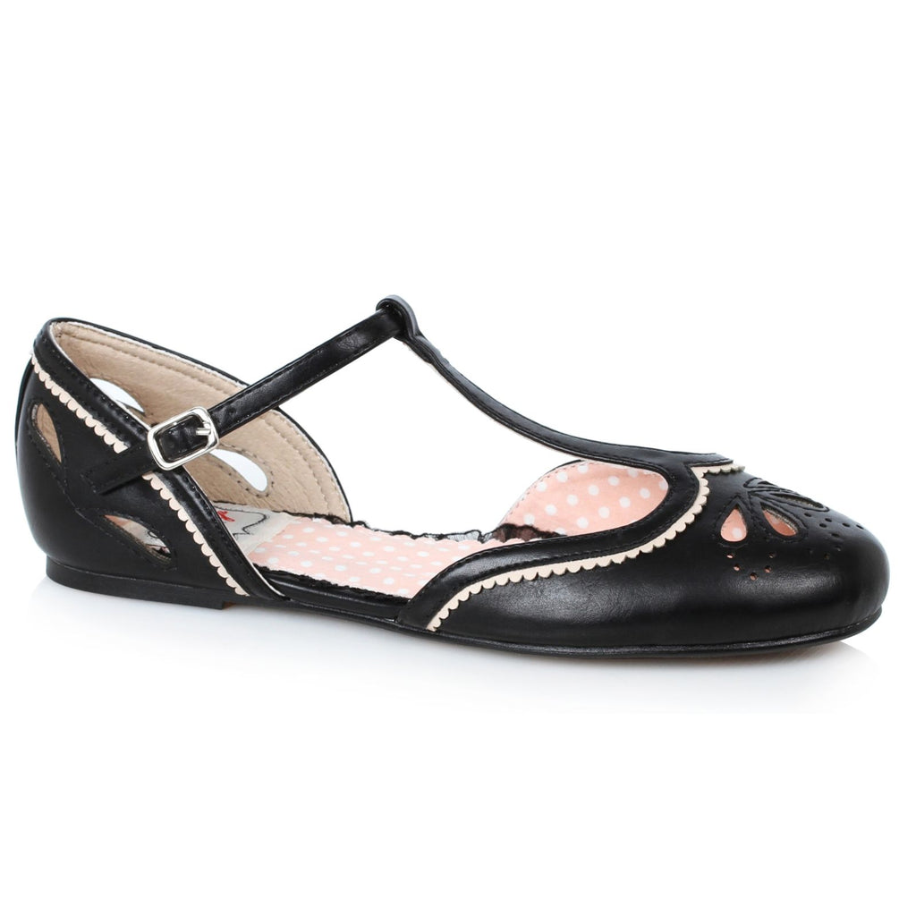 Black Flat T-Strap Sandals Retro Rockabilly Vintage Cutout Detail Womens Shoes