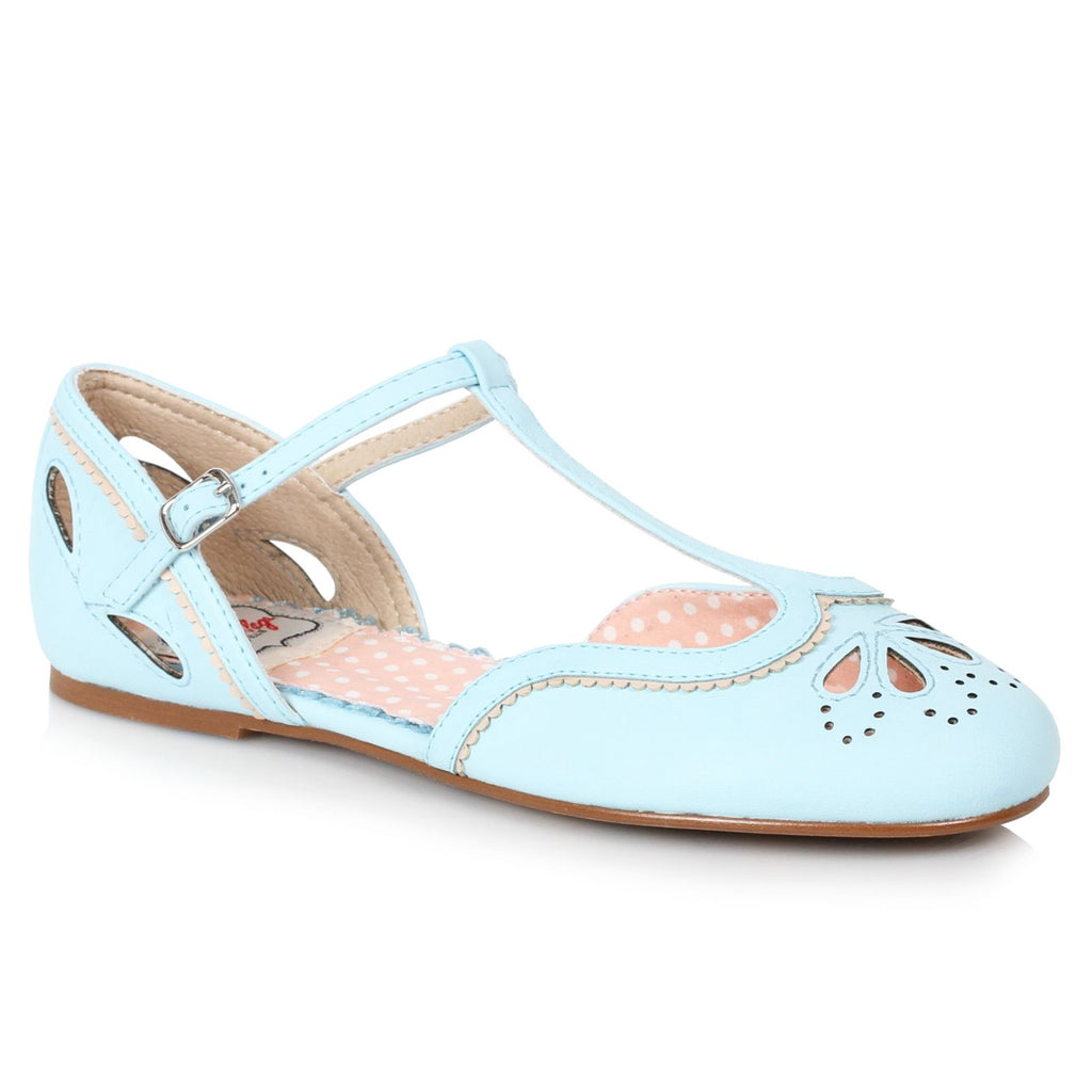 Blue Womens Flats T-Strap Sandals Retro Rockabilly Vintage Cutout Detail Shoes