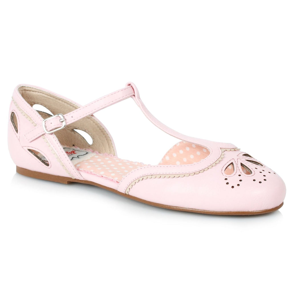 Pink Womens Flats T-Strap Sandals Retro Rockabilly Vintage Cutout Detail Shoes
