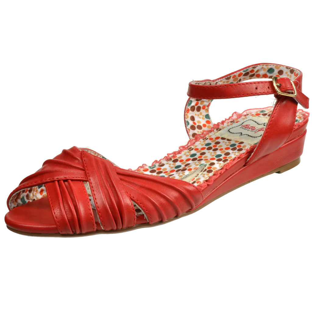 Red Peep Toe Ruched Oxford Flat Sandals Casual Vintage Womens Shoes Rockabilly