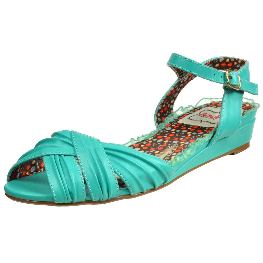 Teal Peep Toe Ruched Oxford Flat Sandals Casual Vintage Womens Shoes Rockabilly