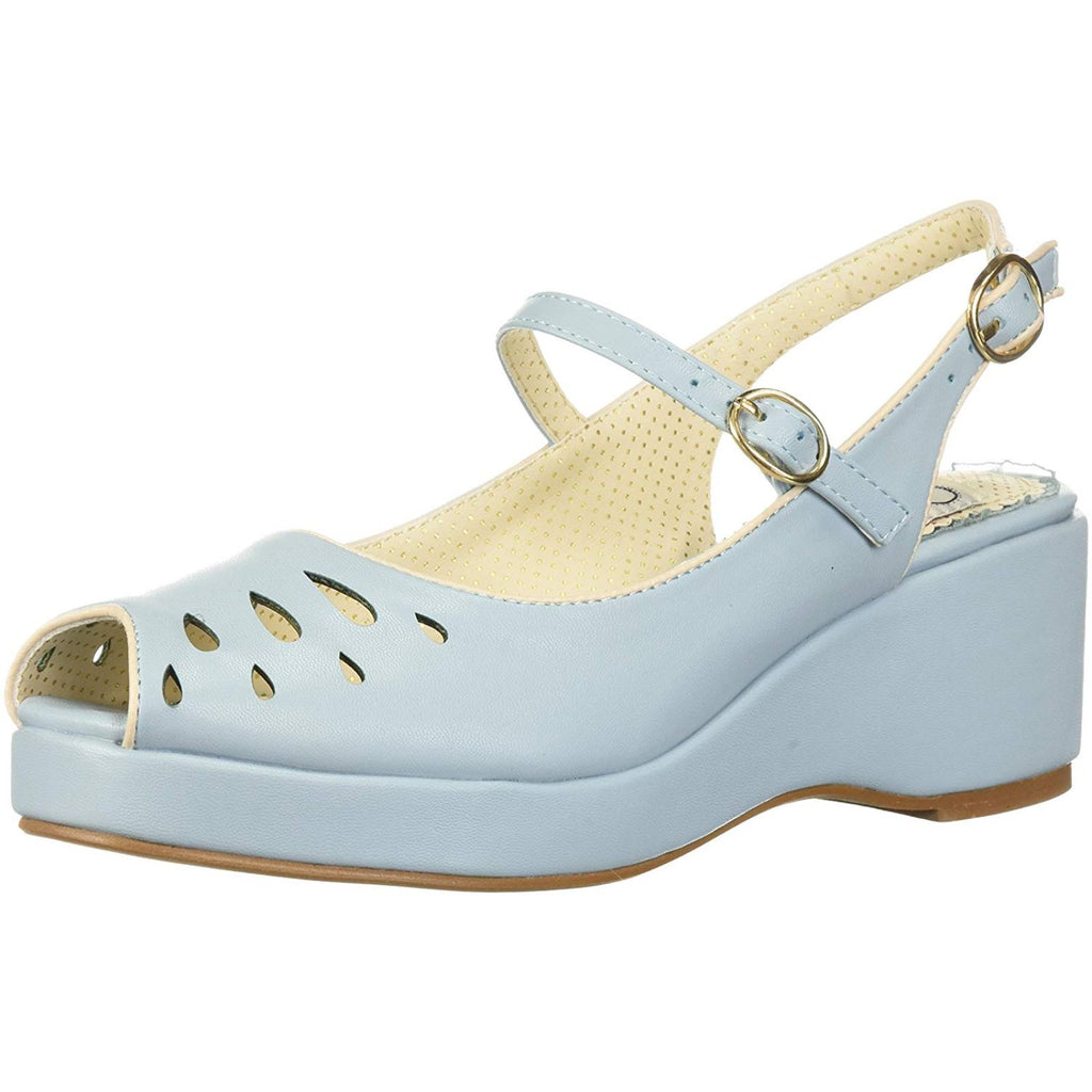 Blue Slingback Womens Sandal Peep Toe Wedge Platform Vintage Rockabilly Shoes