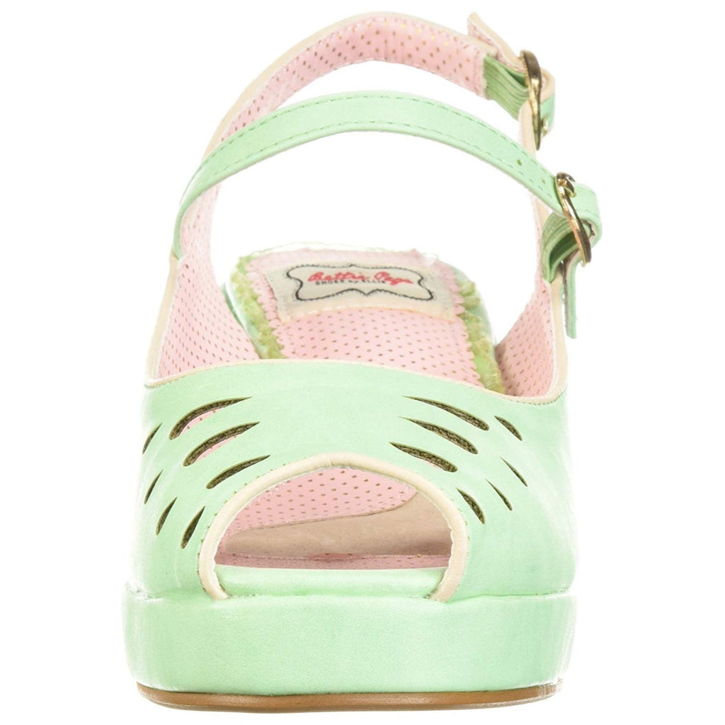 Mint Womens Peep Toe Sling Back Sandals Wedge Platform Vintage Rockabilly Shoes