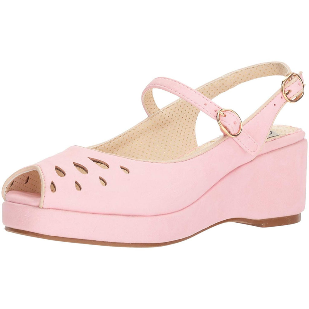 Pink Slingback Womens Sandal Peep Toe Wedge Platform Vintage Rockabilly Shoes