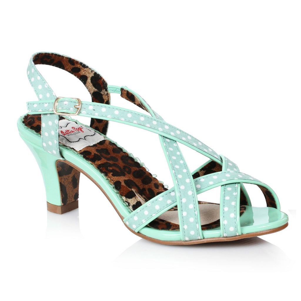 Mint Peep Toe Slingback Polka Dot Strappy Sandals Womens Retro Vintage Shoes