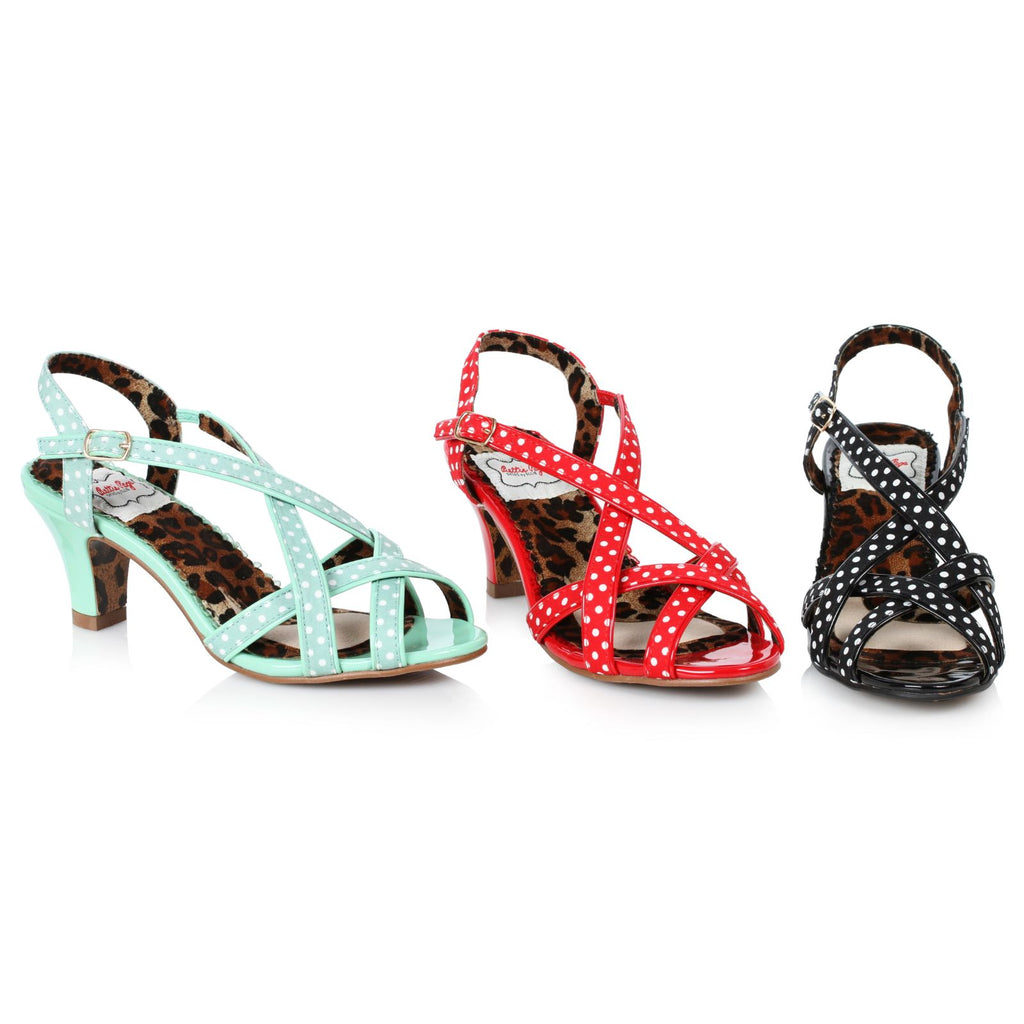 Red Peep Toe Slingback Polka Dot Strappy Sandals Womens Retro Vintage Shoes