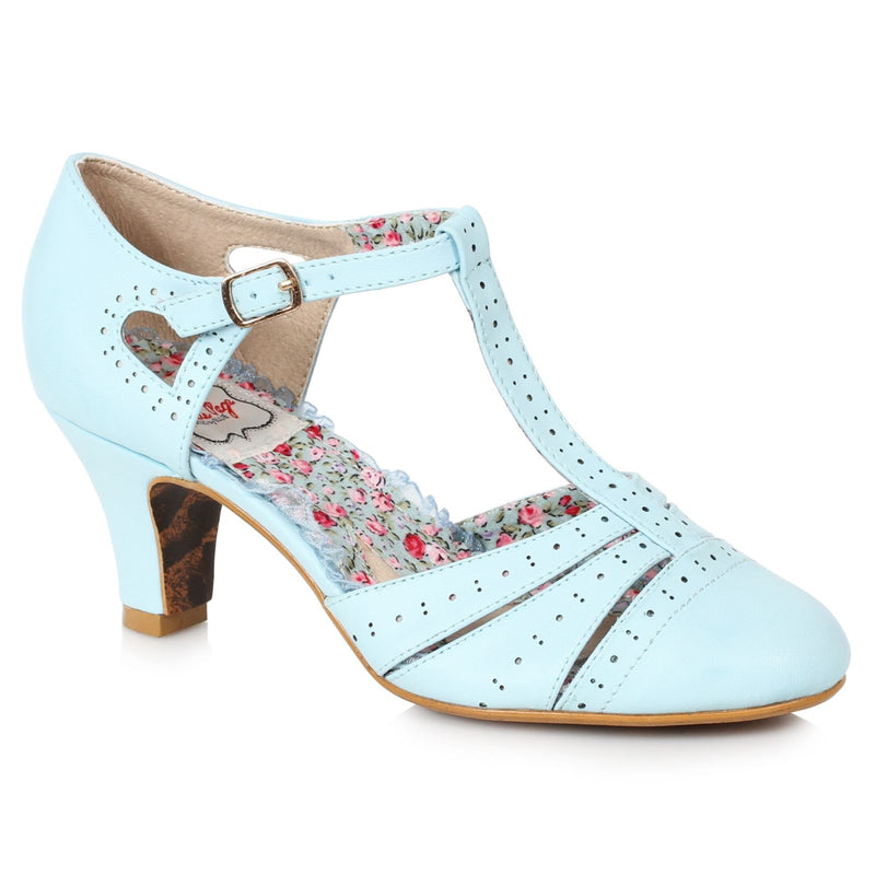 Blue T-Strap Womens Spector Pumps Casual Vintage Retro Rockabilly Dressy Shoes