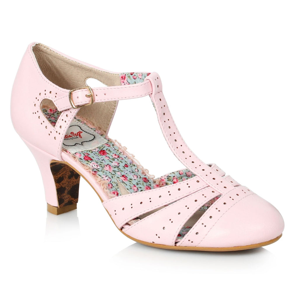 Pink T-Strap Womens Spector Pumps Casual Vintage Retro Rockabilly Dressy Shoes