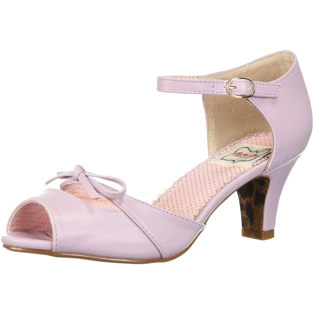 Lavender Peep Toe Ankle Strap Sandals Womens Retro Rockabilly Pin Up Shoes