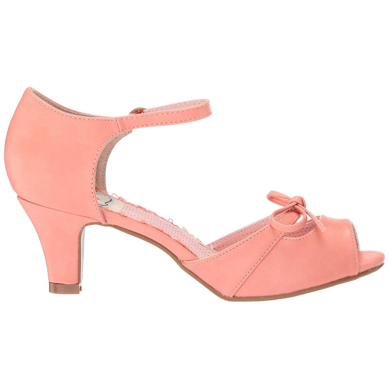 Peach Peep Toe Ankle Strap Sandals Womens Retro Vintage Rockabilly Pin Up Shoes