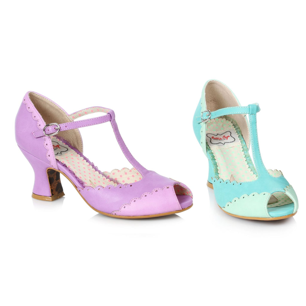 Lavender Peep Toe T-Strap Pumps Vintage Retro Rockabilly Womens Dressy Shoes
