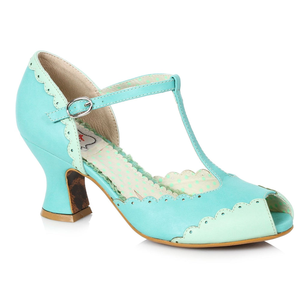Turquoise Peep Toe T-Strap Pumps Vintage Retro Rockabilly Womens Dressy Shoes