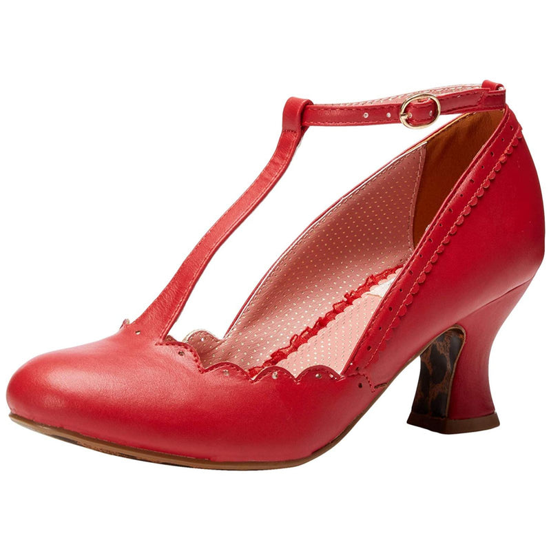 Red Closed Toe T-Strap Pumps Vintage Retro Rockabilly Womens Pin Up Shoes
