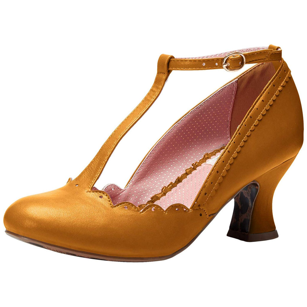 Yellow Closed Toe T-Strap Pumps Vintage Retro Rockabilly Womens Pin Up Shoes