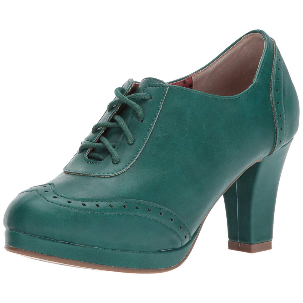 Green Oxford Lace Up Ankle Bootie Platform Womens Vintage Retro Rockabilly Shoes