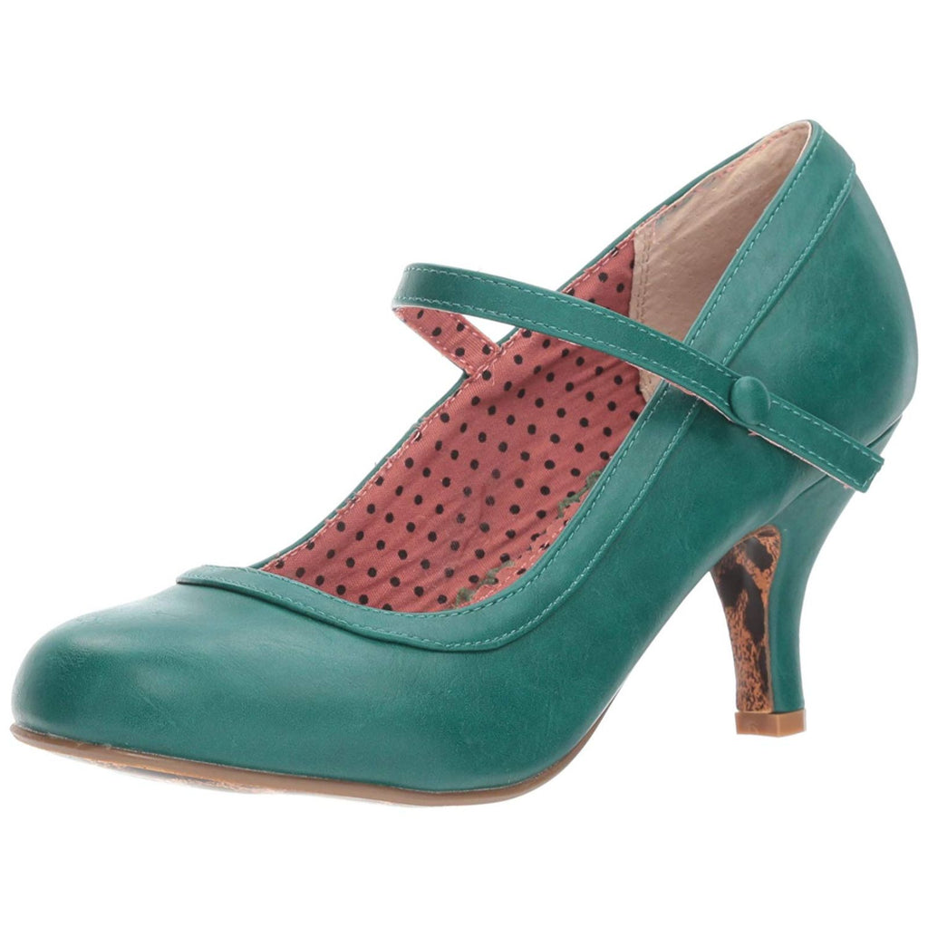 Green Mary Jane Pumps Retro Vintage Rockabilly Pin Up Womens High Heels Shoes