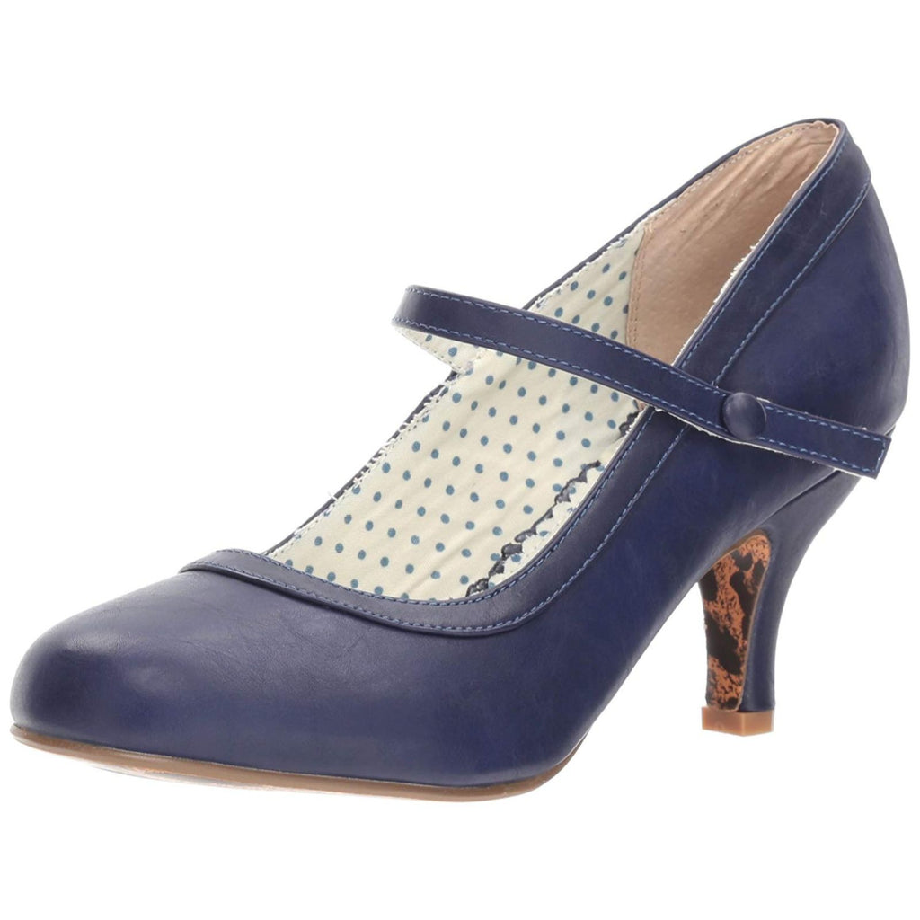 Navy Mary Jane Pumps Retro Vintage Rockabilly Pin Up Womens High Heels Shoes