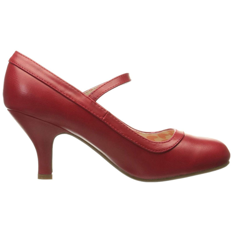 Red Mary Jane Pumps Retro Vintage Rockabilly Pin Up Womens High Heels Shoes