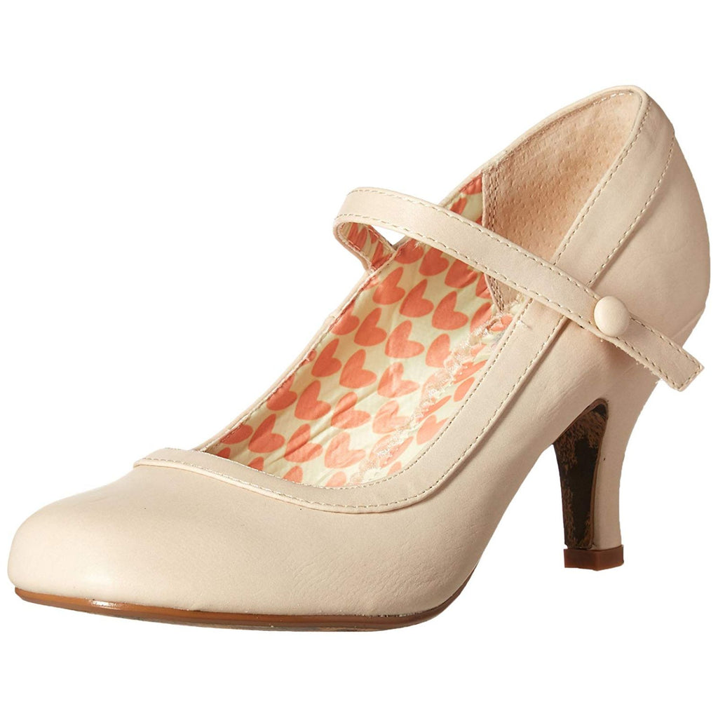 Nude Mary Jane Pumps Retro Vintage Rockabilly Pin Up Womens High Heels Shoes