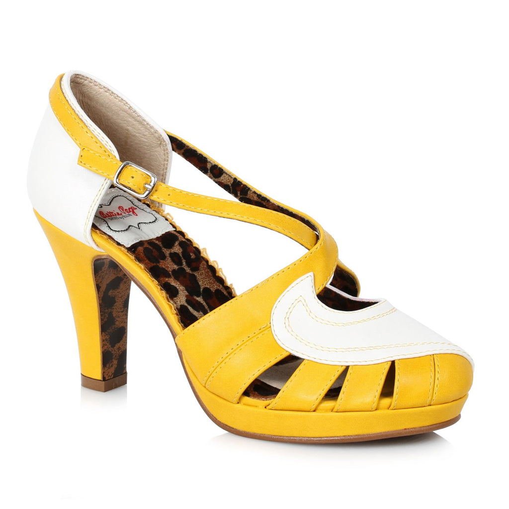 Yellow Strappy Slingback Sandals Platform Womens Vintage Retro High Heel Shoes