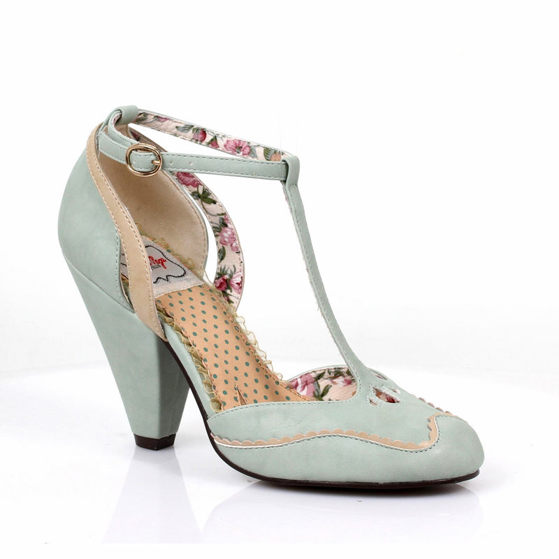 Mint T-Strap Sandals Womens Retro Vintage Rockabilly Pin Up High Heels Shoes