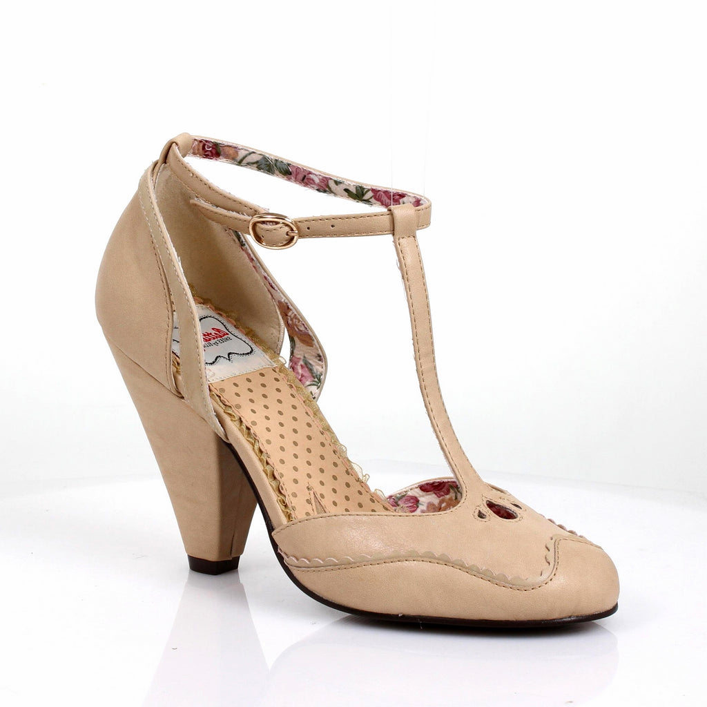 Nude T-Strap Sandals Womens Retro Vintage Rockabilly Pin Up High Heels Shoes