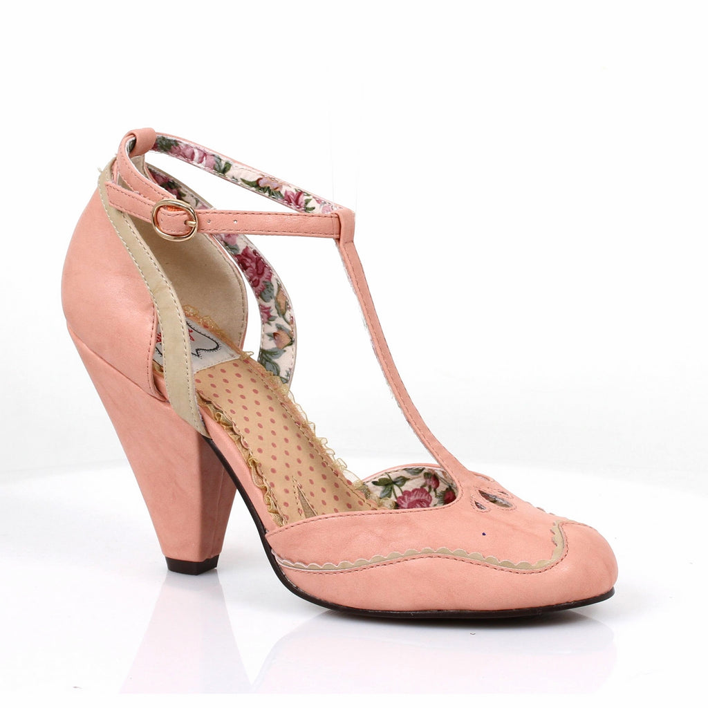 Pink T-Strap Sandals Womens Retro Vintage Rockabilly Pin Up High Heels Shoes