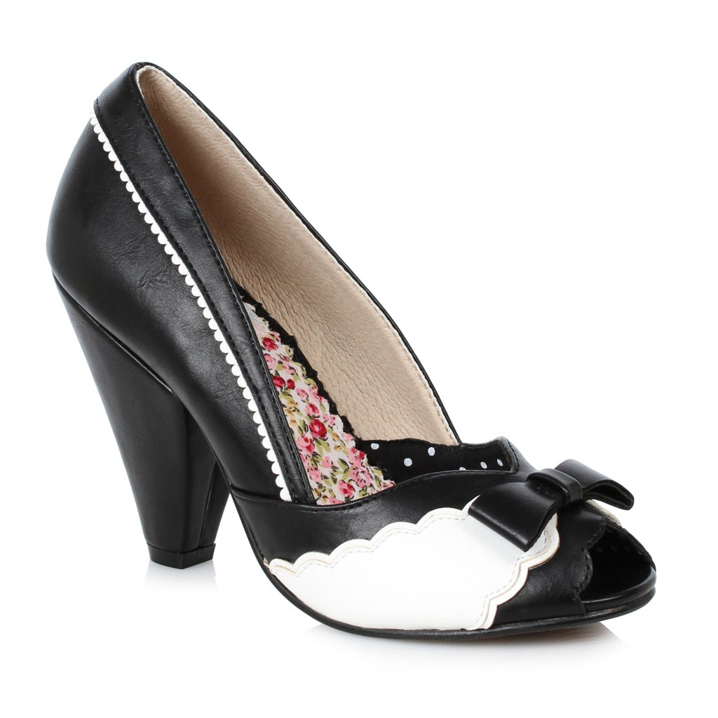 Black Peep Toe Pumps Pin Up Vintage Retro Rockabilly Womens High Heel Shoes