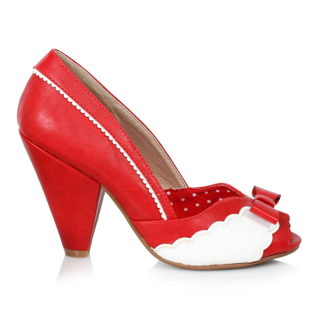 Red Peep Toe Pumps Pin Up Vintage Retro Rockabilly Womens High Heel Shoes