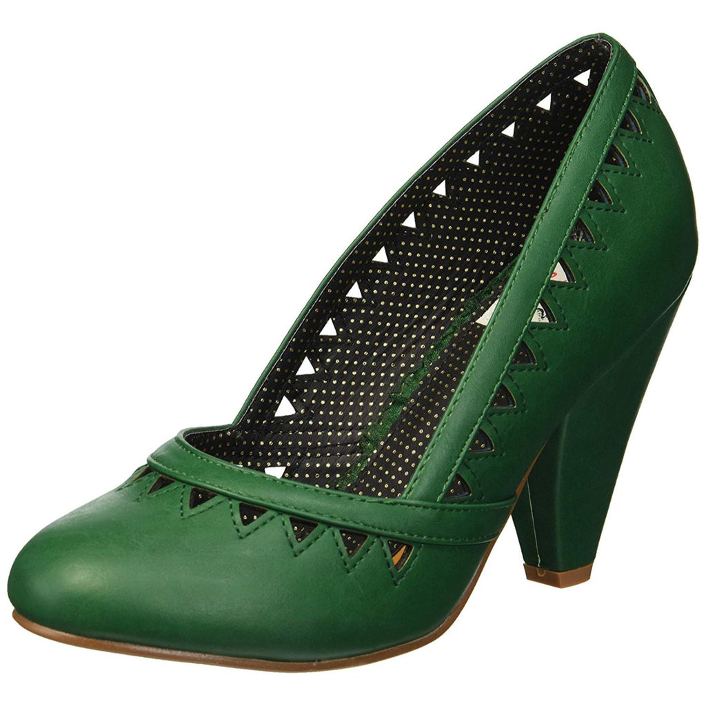 Green Closed Toe Pumps Pin Up Vintage Retro Rockabilly Womens High Heel Shoes