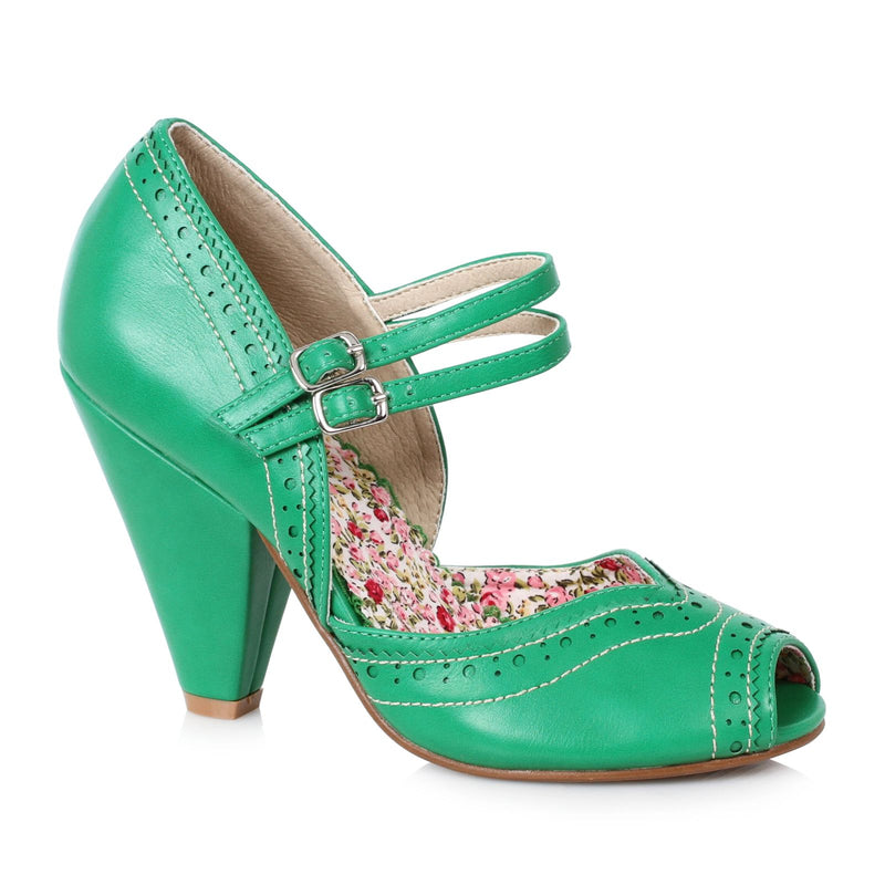 Green Peep Toe Mary Jane Pumps Vintage Retro Rockabilly Womens High Heel Shoes