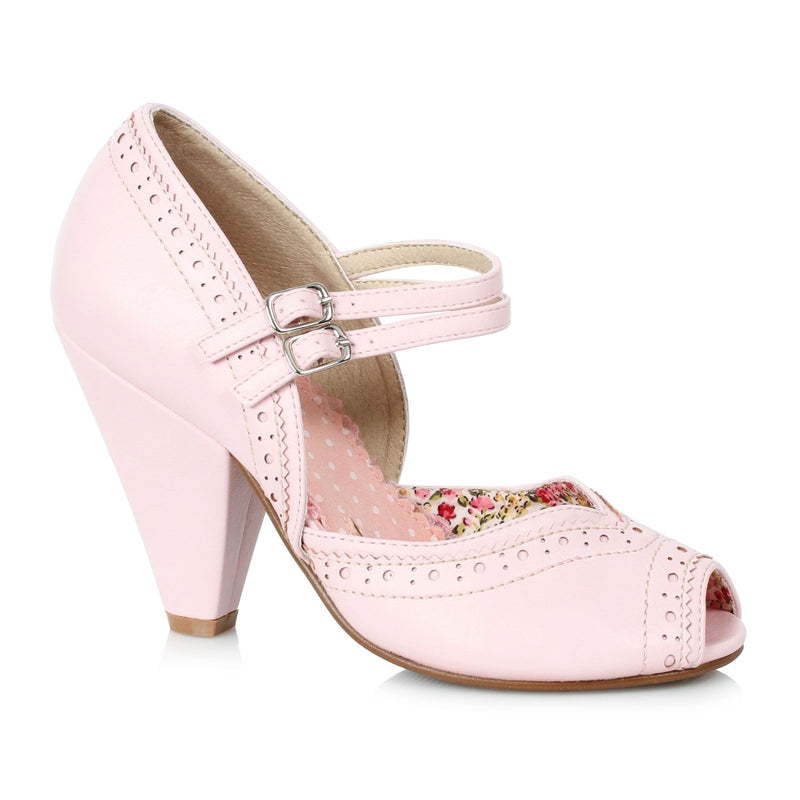 Pink Peep Toe Mary Jane Pumps Vintage Retro Rockabilly Womens High Heel Shoes