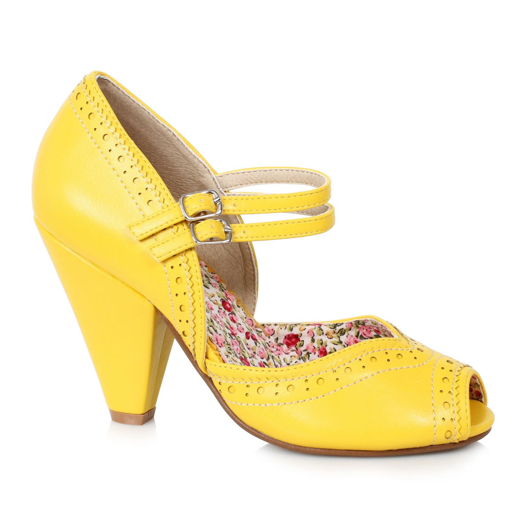 Yellow Peep Toe Mary Jane Pumps Vintage Retro Rockabilly Womens High Heel Shoes