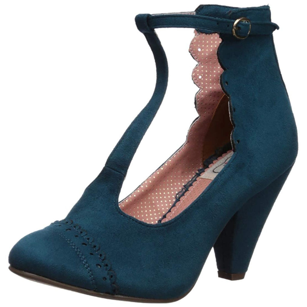 Blue Suede Womens T-Strap Sandals Lolita Closed Toe High Heel Ankle Bootie