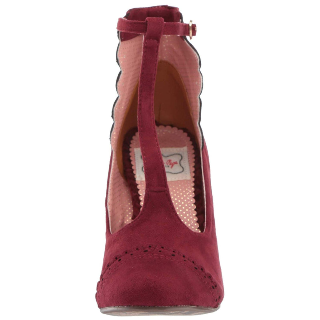 Burgundy Suede Womens T-Strap Sandals Lolita Closed Toe High Heel Ankle Bootie