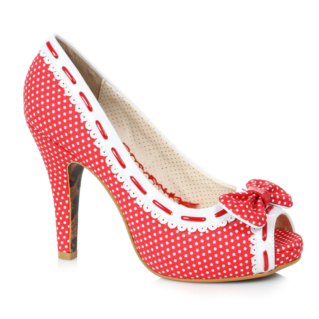 Red Womens Polka Dots Pumps Peep Toe Bow Retro Rockabilly High Heels Shoes