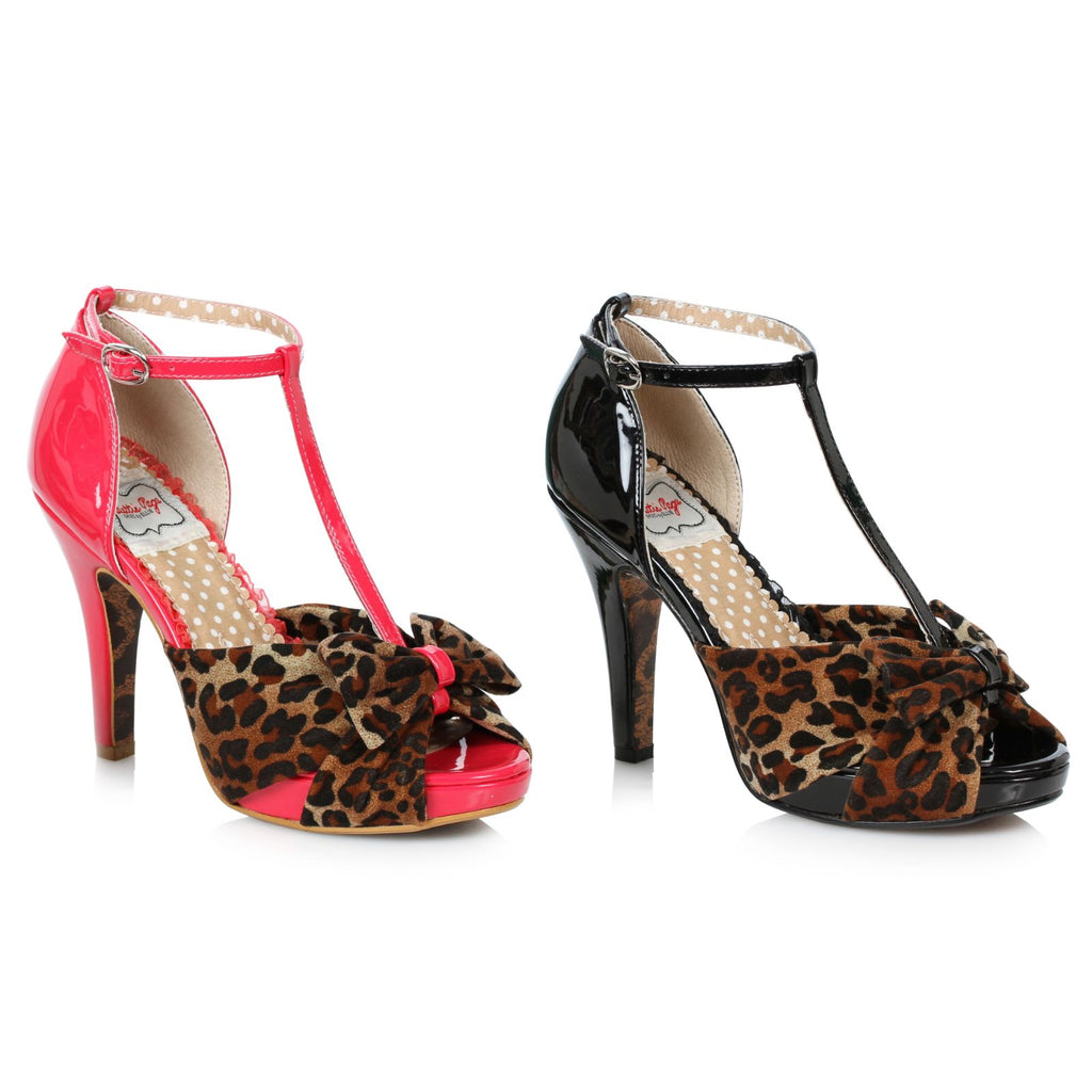 Black Leopard Print T-Strap Sandals Peep Toe Retro Rockabilly High Heels Shoes