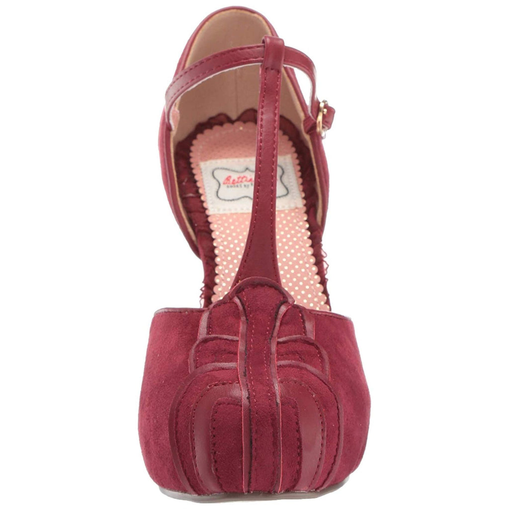 Burgundy Suede Womens T-Strap Mary Jane Sandal Lolita Round Toe High Heel Shoes