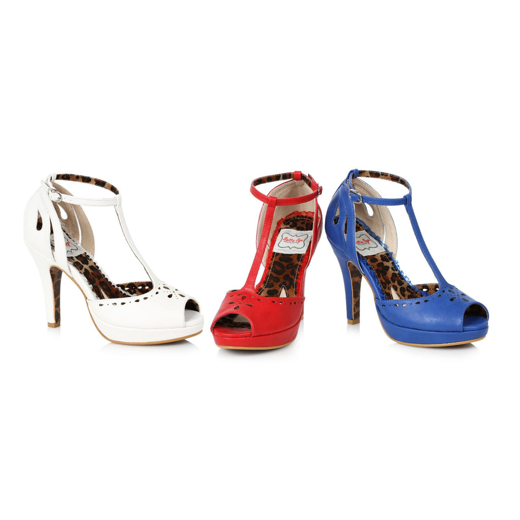 Blue Peep Toe T-Strap Sandals Platform Vintage Retro Dressy High Heels Shoes
