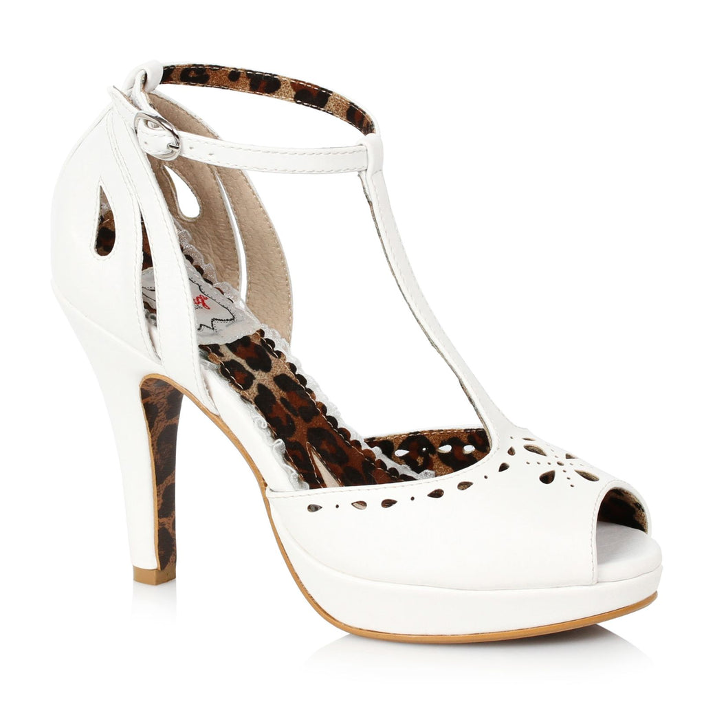 White Peep Toe T-Strap Sandals Platform Vintage Retro Dressy High Heels Shoes